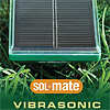 Solar Vibrosonic mole repeller on the grass. Photo also shows mole repeller in the ground.